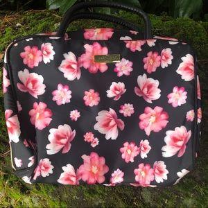Ellen Tracy black with pink flowers makeup bag